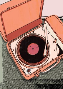 Image of portable record player #8 - print - illustration