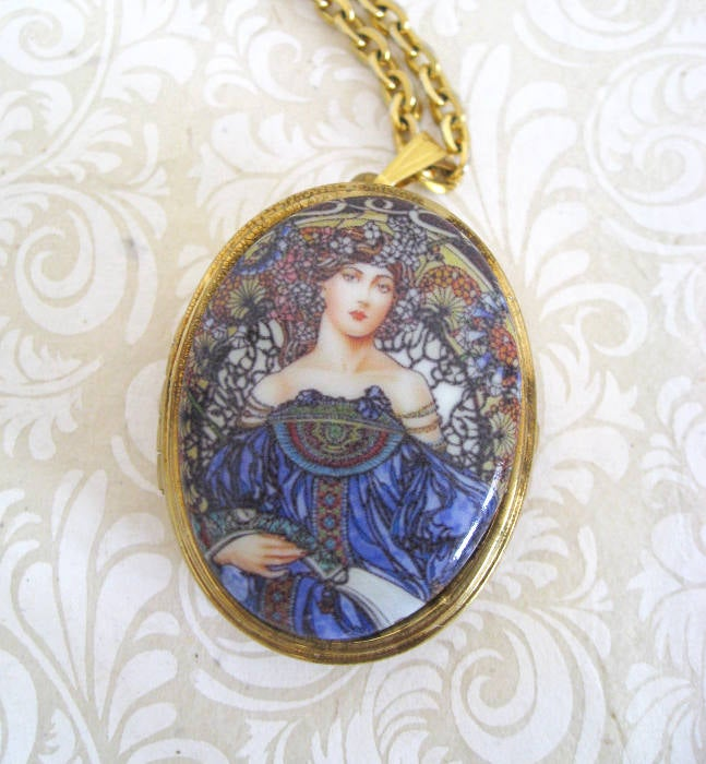 Image of Cameo Miniature Music Box Locket ~ Mucha