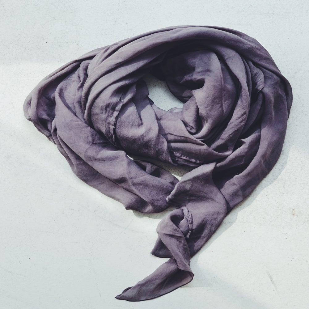 Image of Silk Scarf gray /purple