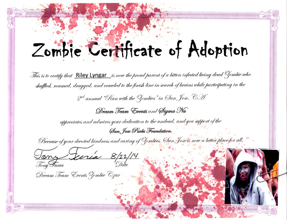 Image of Adopt a Zombie Certificate