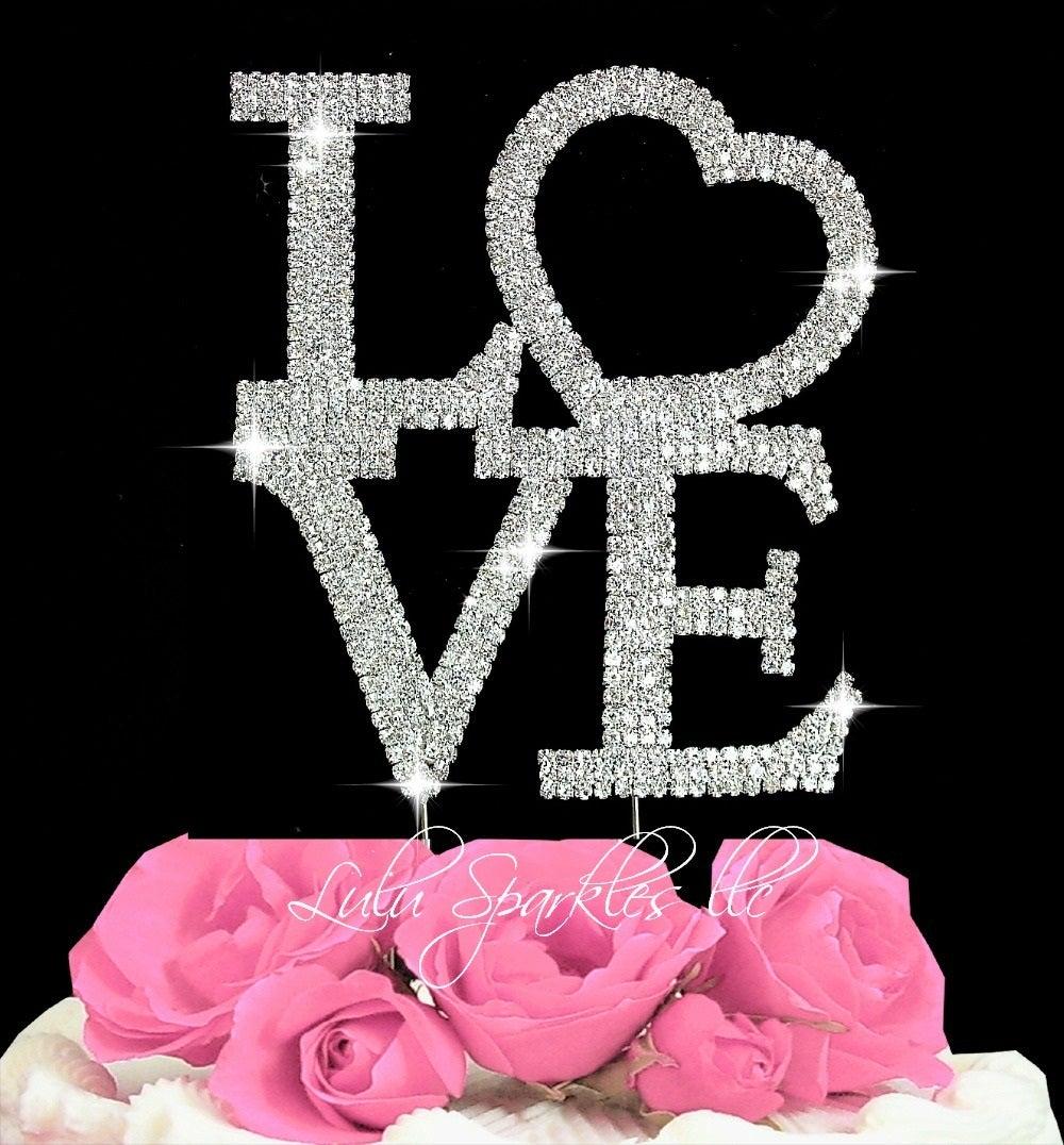 Large Love Crystal Bling Rhinestone Cake Topper Wedding