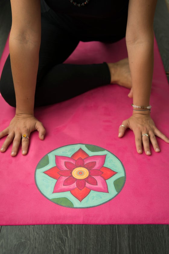 Image of Mandala Yoga Towel-Pink with Pink and White Lotuses