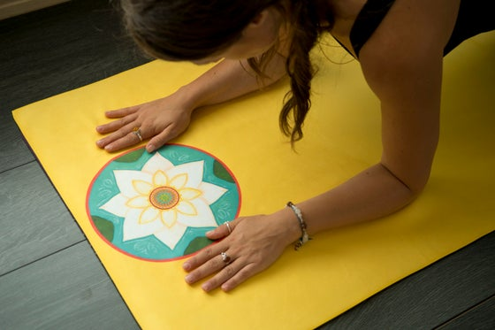 Image of Mandala Yoga Towel-Yellow with Cherry Blossom and White Lotus
