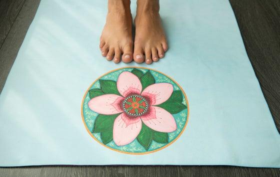 Image of Mandala Yoga Towel-Blue with Cherry Blossom and White Lotus