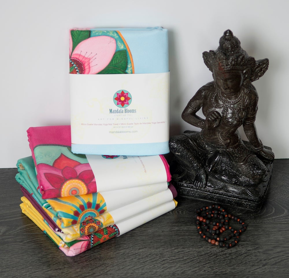 Image of Mandala Yoga Towel-Blue with Cherry Blossom and White Lotus