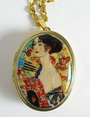 "Image of Cameo Miniature Music Box Locket ~ Gustav Klimt ""Lady With Fan"""