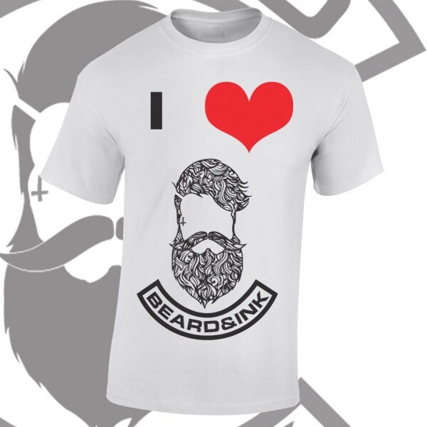 Image of I ❤️ Beard & Ink Patterned Logo Tee