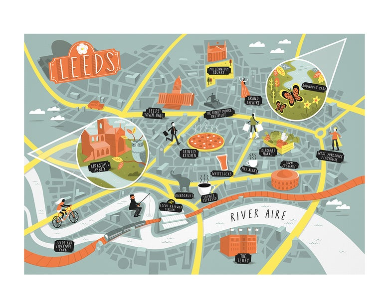 Image of Illustrated map of Leeds - print