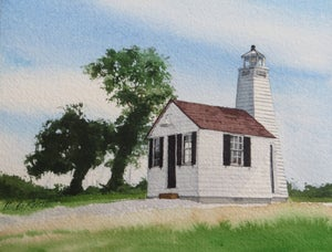 "Image of ""Gibson Island Lighthouse"" original watercolor"