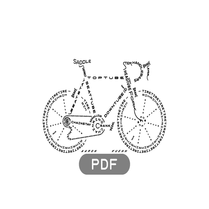 Image of Bicycle Typogram - PDF File Download