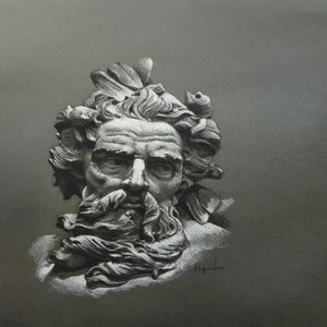 Image of Poseidon Charcoal on tinted paper. Signed print