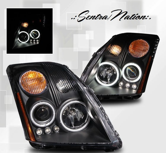Image of (B16) 07-12 SENTRA BLACK CCFL HALO STYLED HEADLIGHTS
