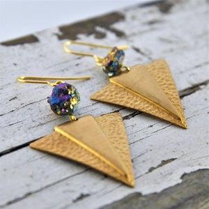 Image of Meskwaki - Tribal Brass Triangle Earrings