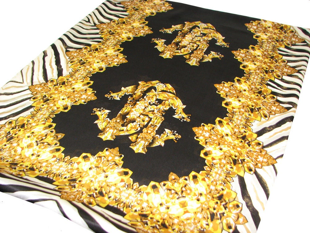 Image of SOLD OUT Roberto Cavalli 100% Silk Scarf Black With Stripes and Logo