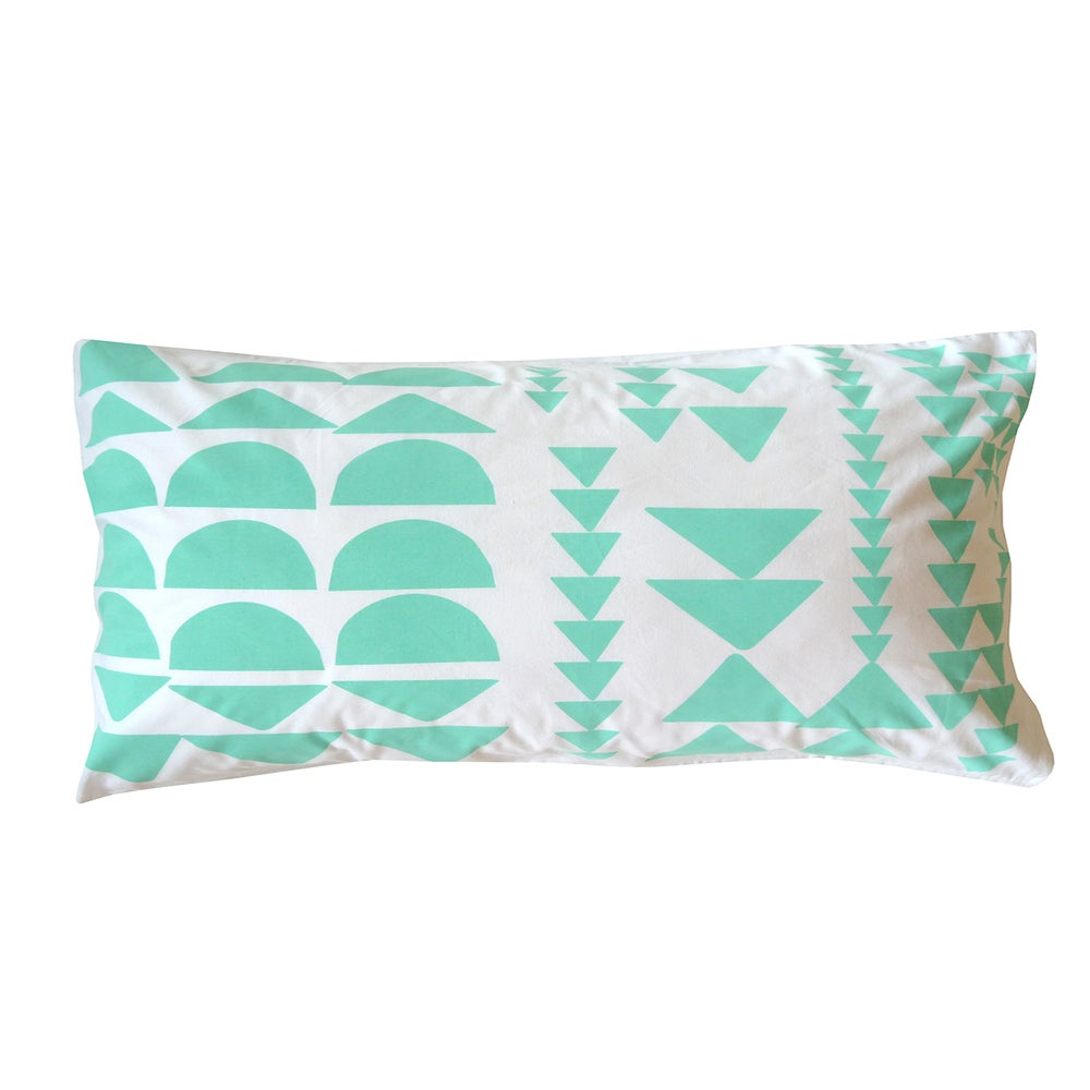 Image of MINT BLOCK PRINT PILLOWCASE