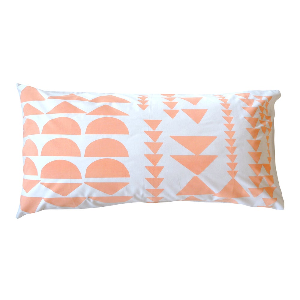 Image of PEACH BLOCK PRINT PILLOWCASE
