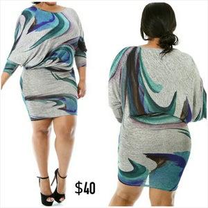 Image of Draped Gray Swirl Dress
