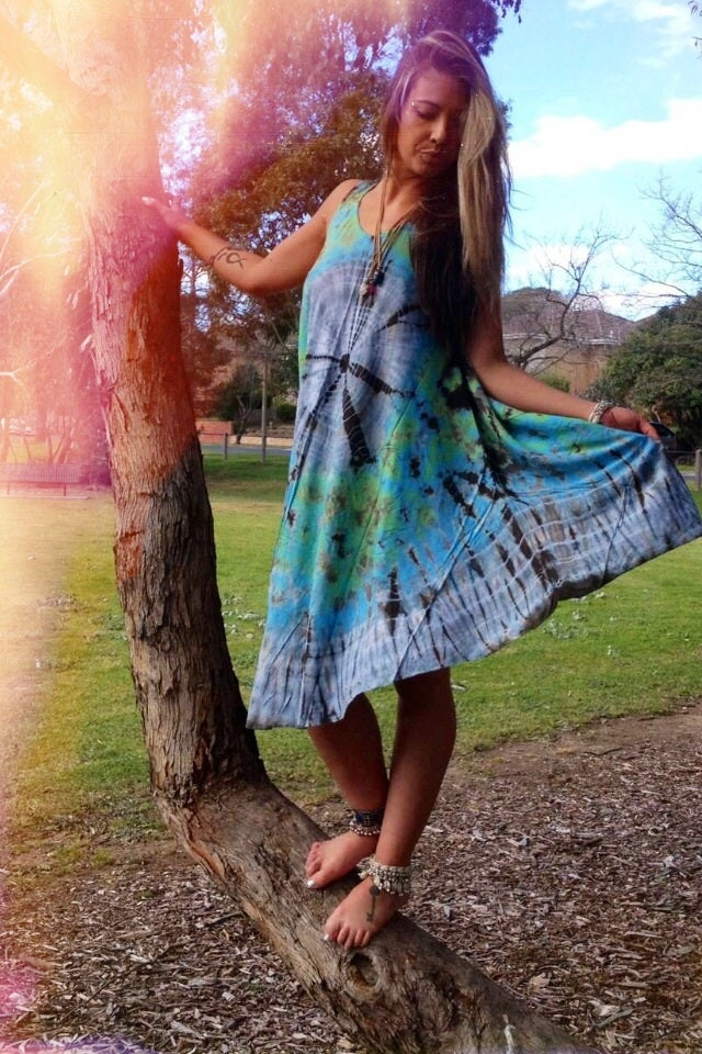Image of Halfmoon tiedye midi dress