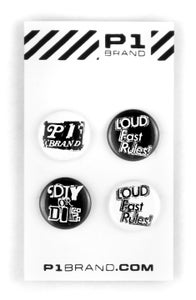 "Image of ""Loud Fast Rules"" Button Set, 4 (P1B-A0550)"