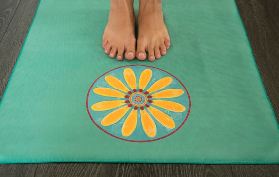 Image of Mandala Yoga Towel-Turquoise with Yellow Mehndi Daisy and Pink Lotus