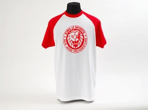 Image of Red 'King Of Sports' Classic Lion Mark Baseball Sleeve T-Shirt
