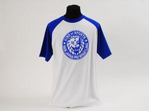 Image of Blue 'King Of Sports' Classic Lion Mark Baseball Sleeve T-Shirt