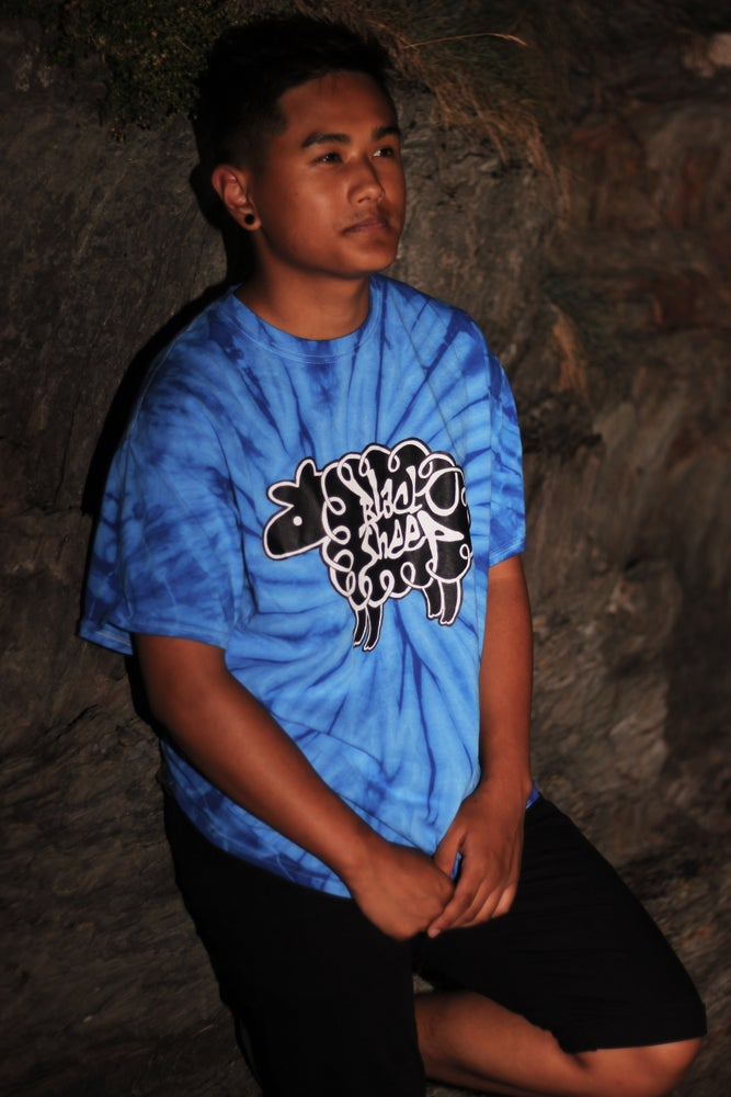 Image of TIE-DYE LOGO T-SHIRT (BLUE)