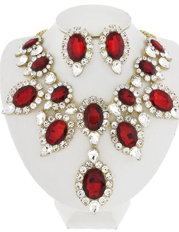 Image of Red Crystals Necklace N Studs