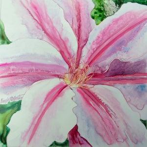 """Image of """"Clematis"""" original watercolor by Linda Roberts"""
