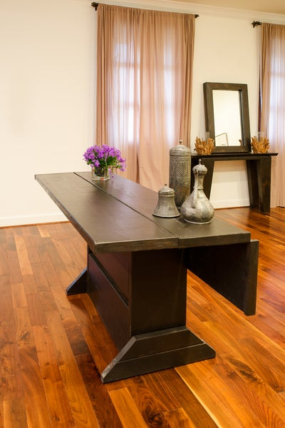 Image of 5 foot folding table / hinged table / drop leaf table