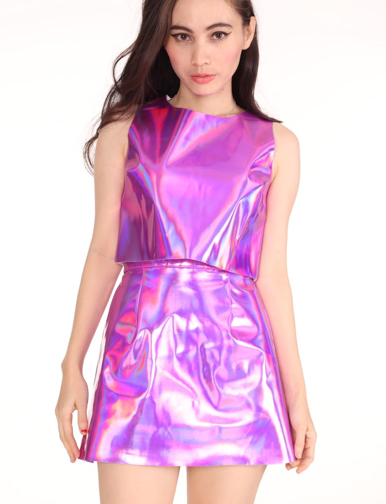 Image of Made To Order - Pink Holographic 2 Piece Motel Set