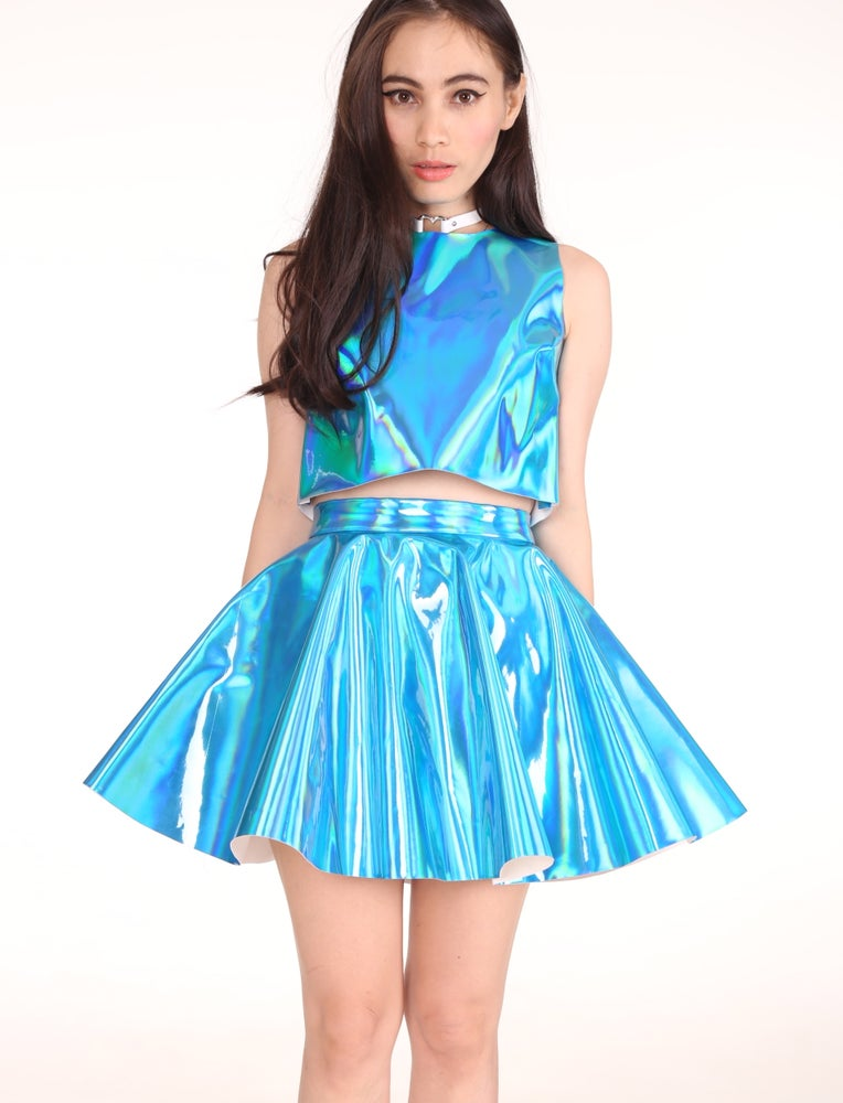 Image of Made To Order - Daniela 2 Piece Set in Crystal Blue Hologram