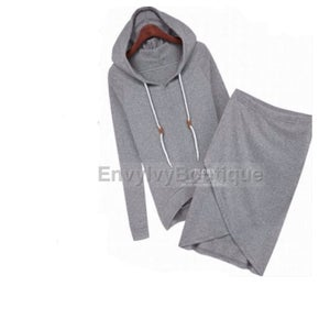 Image of Gray Hoodie Skirt Suit