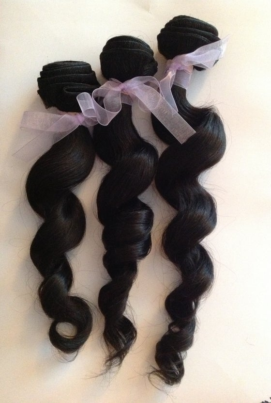 Image of Virgin Brazilian Wavy Human Hair Bundle-12 inches