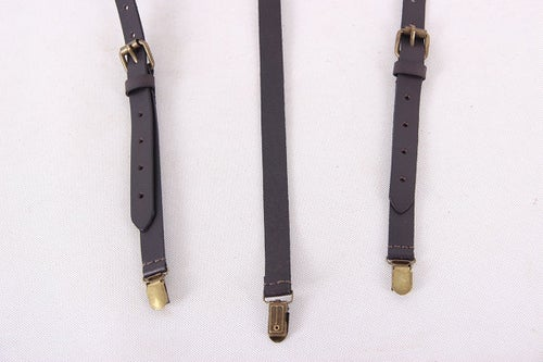 Image of Genuine Leather Suspenders / Groomsman Wedding Suspenders in Black Coffee 0191