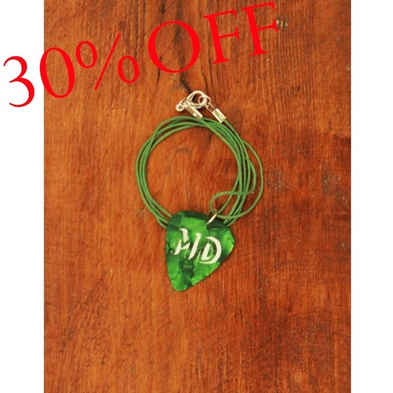 Image of MD Green Plectrum Necklace (Green Cord)
