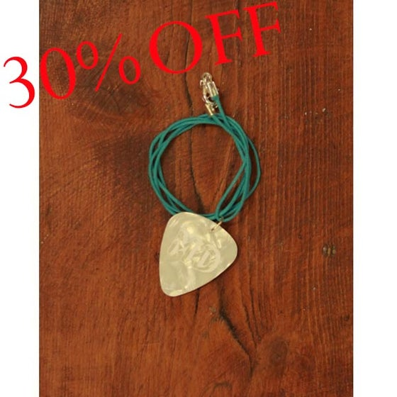 Image of MD White Plectrum Necklace (Green Cord)