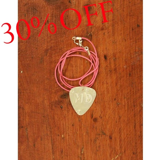 Image of MD White Plectrum Necklace (Pink Cord)