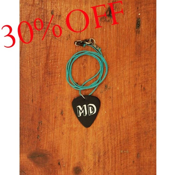 Image of MD Black Plectrum Necklace (Green Cord)