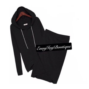Image of Black Hoodie Skirt Suit