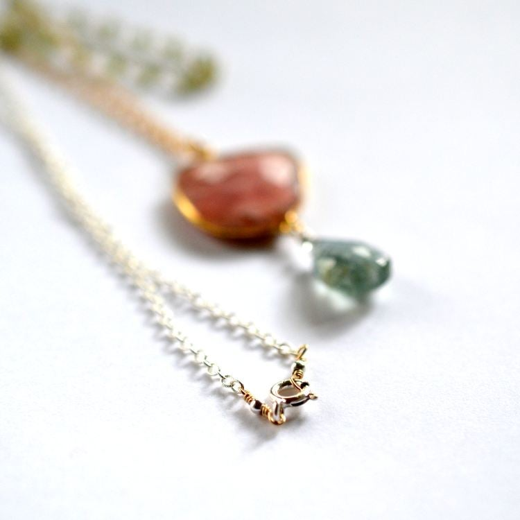 Image of Layered pink opal necklace with moss aquamarine and peridot