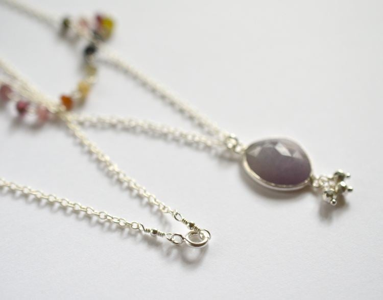 Image of Layered sapphire necklace with tourmaline