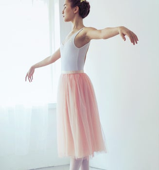 Image of 40% Off - Ready-To-Wear Tulle Skirt - White/Rose Coral