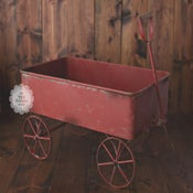 Image of Dark Red Rust Metal Wagon - Newborn, Sitter & Toddler - Vintage Style