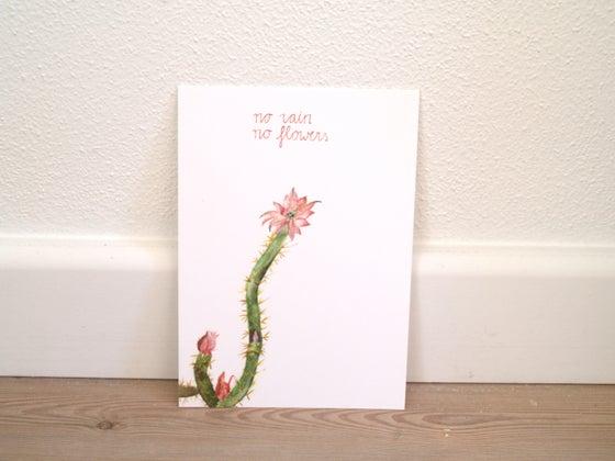 """Image of Postcard cactus aquarel """"no rain, no flowers"""""""