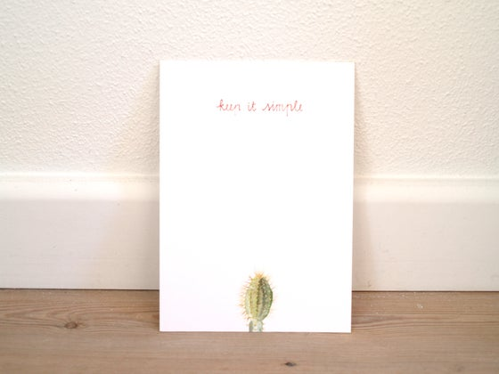 "Image of Postcard cactus aquarel ""keep it simple"""