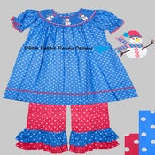 Image of Smocked Snowman Top and Ruffle Pants