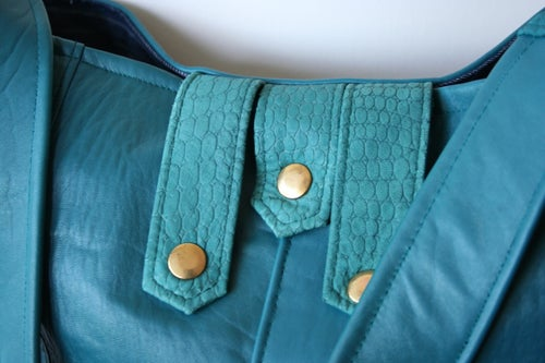Image of Repurposed 80s Bomber Jacket Hobo Bag {TEAL}