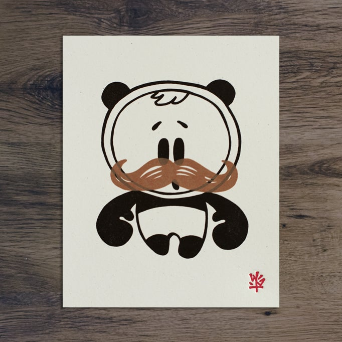 Image of OhNo with Stache - Letterpress & Screened combo print