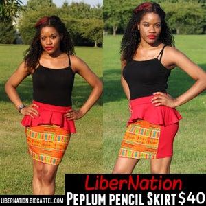 Image of Peplum Pencil skirt (red)